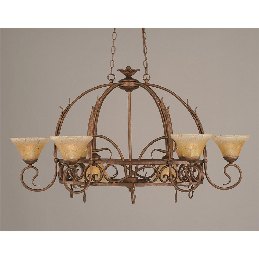 Toltec Lighting 216-BRZ-750 Bronze Finish 8 Light Pot Rack With 8 Hokks With 7 in. Amber Crystal Glass, Pots Not Included