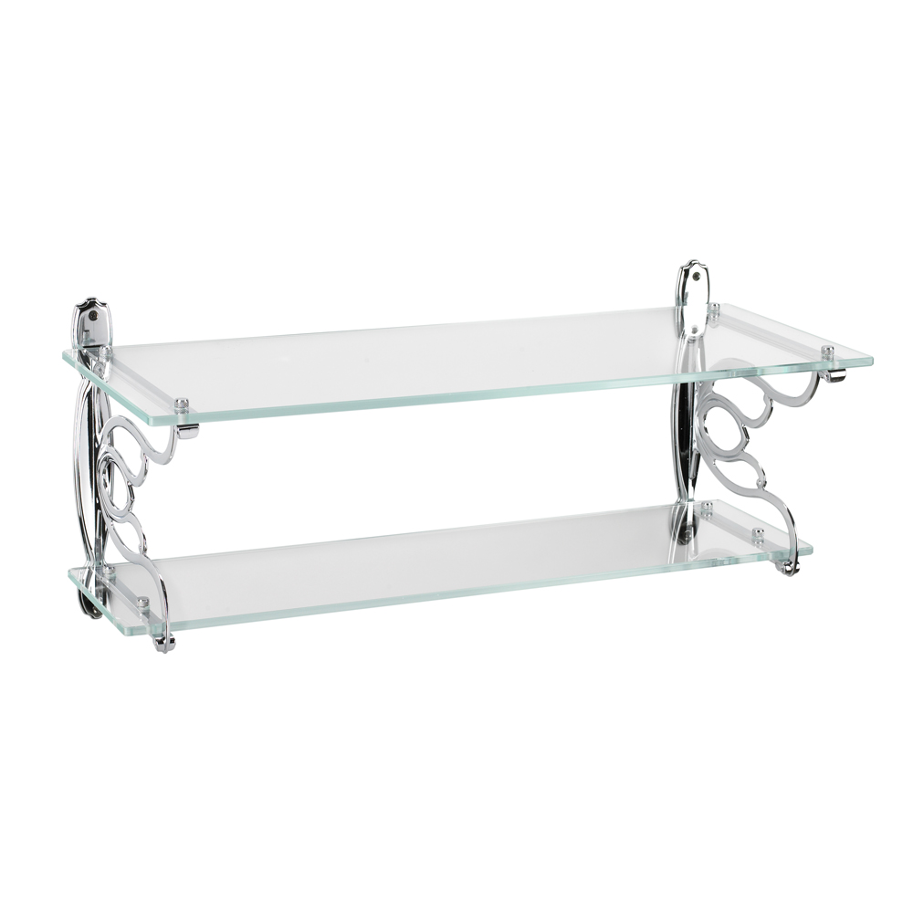 Topex 12136A40 Double Glass Bathroom Shelf Bright Chrome