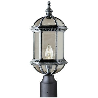 Trans Globe Lighting 4186 BK 1 Light Post Lantern in Black