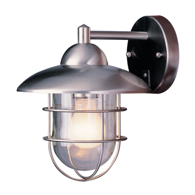 Trans Globe Lighting 4371 ST 1 Light Coach Lantern in Stainless Steel