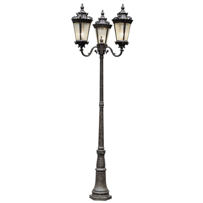 Trans Globe Lighting 4844 PA 3 Light Pole Lantern in Patina