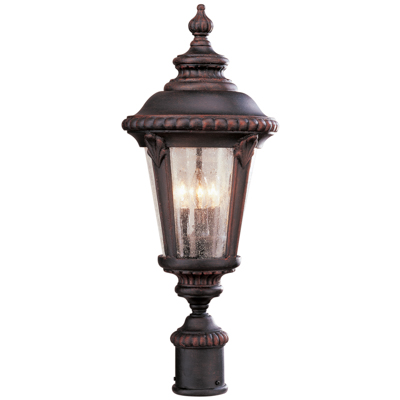 Trans Globe Lighting 5047 RT 3 Light Post Lantern in Rust