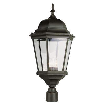 Trans Globe Lighting 51001 BK 3 Light Post Lantern in Black