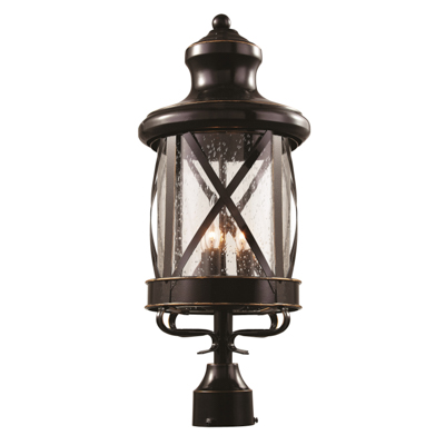 Trans Globe Lighting 5123 ROB 3 Light Post Lantern in Rubbed Oil Bronze