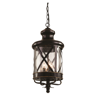 Trans Globe Lighting 5124 ROB 3 Light Hanging Lantern in Rubbed Oil Bronze