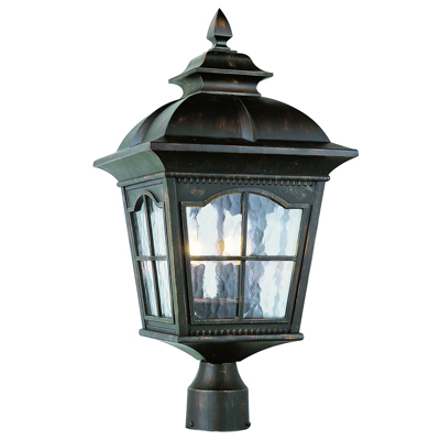 Trans Globe Lighting 5422 AR 3 Light Post Lantern in Antique Rust