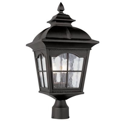 Trans Globe Lighting 5422 BK 3 Light Post Lantern in Black