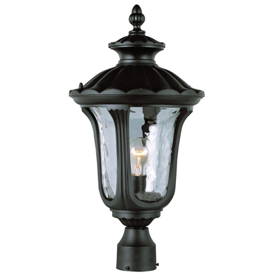 Trans Globe Lighting 5913 BK 1 Light Post Lantern in Black