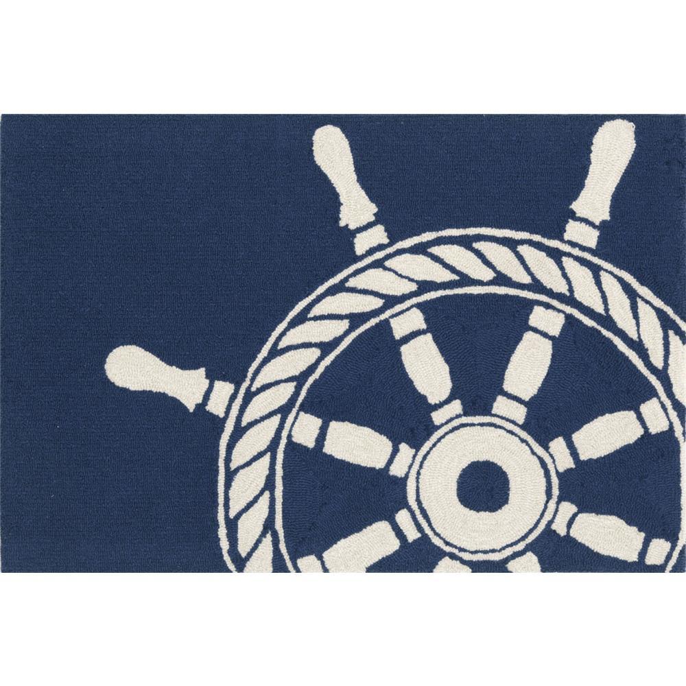 "Liora Manne 1456/33 SHIP WHEEL NAVY Hand Tufted Indoor/Outdoor Area Rug in 20""X30"""