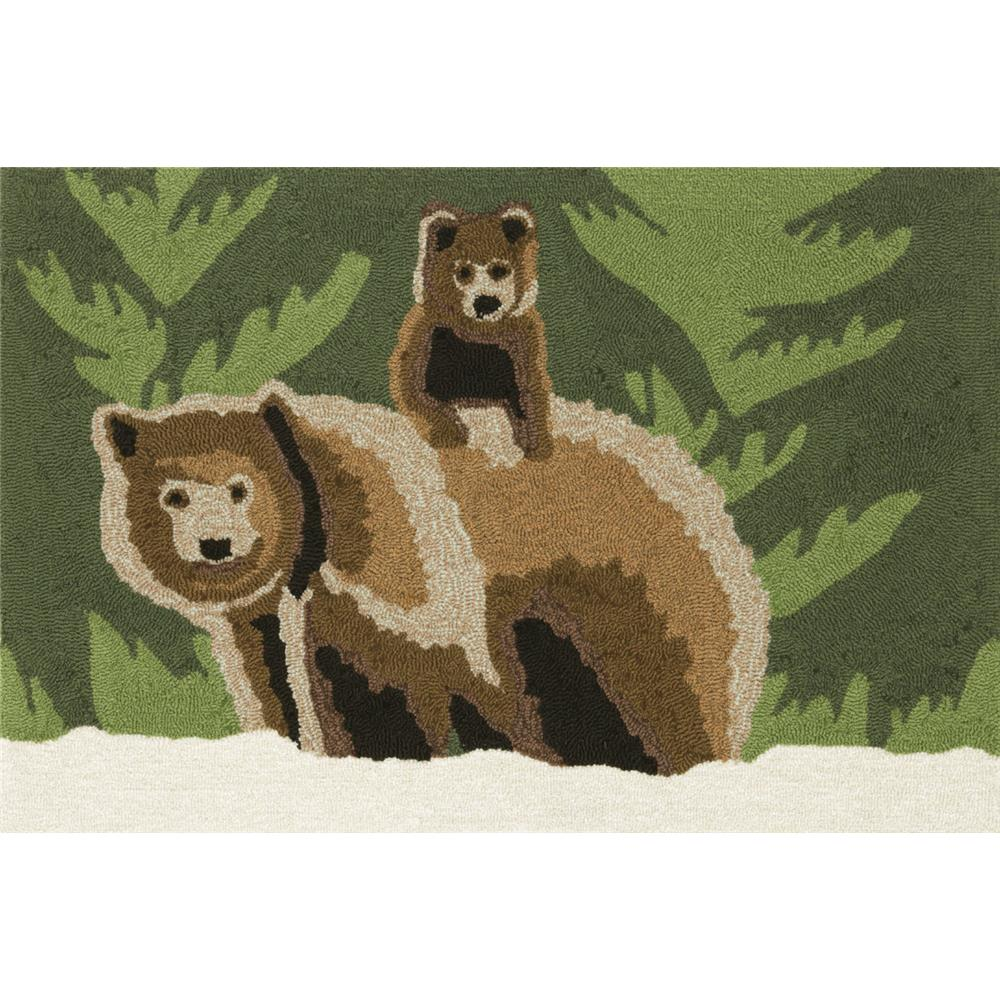 """Liora Manne 1463/16 BEAR FAMILY FOREST Hand Tufted Indoor/Outdoor Area Rug in 20""""X30"""""""