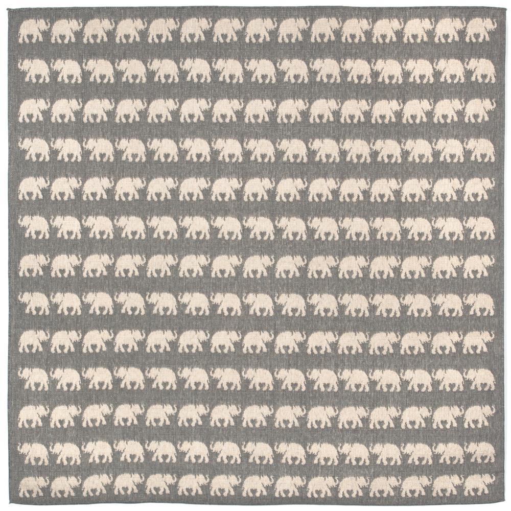 Liora Manne 1767/68 ELEPHANTS SILVER Wilton Woven Indoor/Outdoor Area Rug in 7