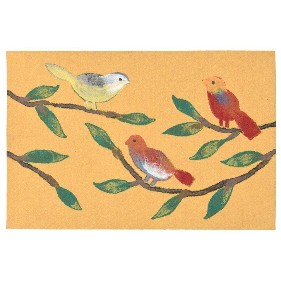 Liora Manne VRC12325409 3254/09 CHIRP BIRDS YELLOW
