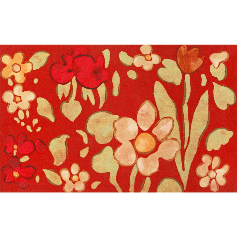 Liora Manne VRD12323924 3239/24 WATERCOLOR FLOWER RED