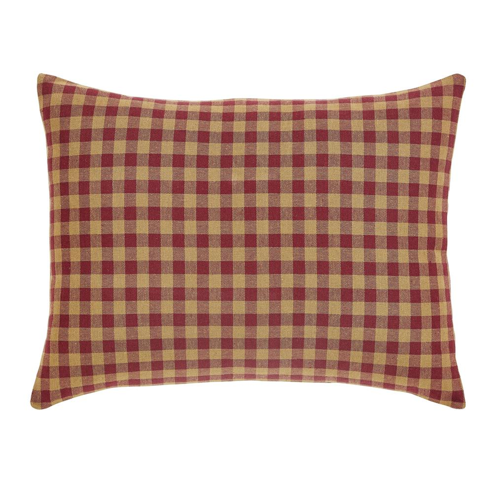 VHC Brands 6098 Burgundy Burgundy Check Fabric Pillow Cover 16x16