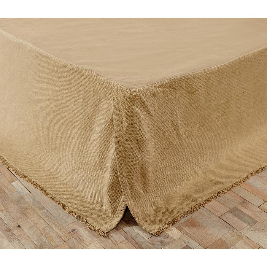 VHC Brands 17130 Natural Burlap Natural Fringed Queen Bed Skirt 60x80x16