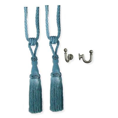 Versailles S795802-40 24in Chelsea Tieback (pair) & Ball Hooks (pair/Pewter)
