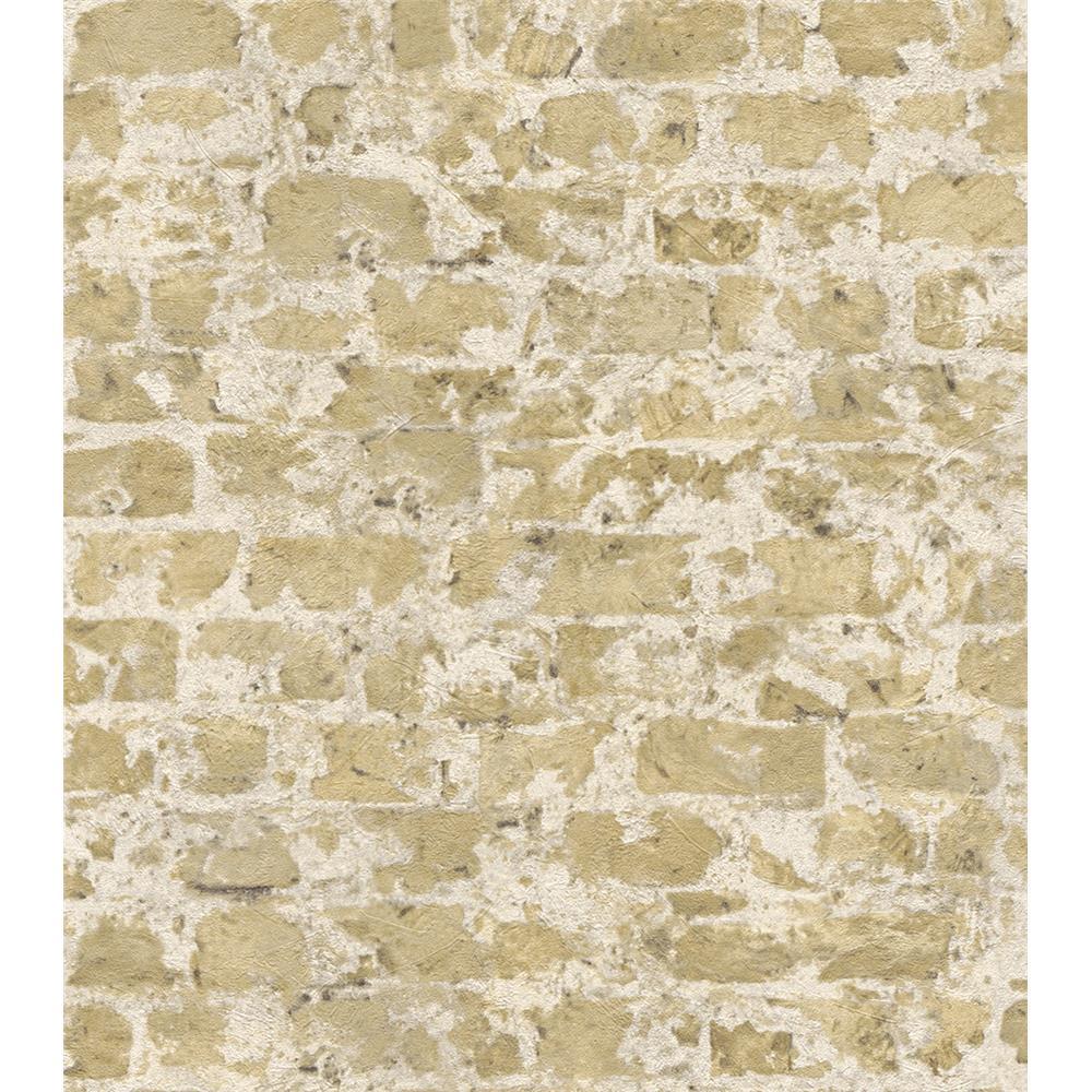 Washington Wallcoverings 446272 Factory II Soft Khaki Distressed Brick Wallpaper