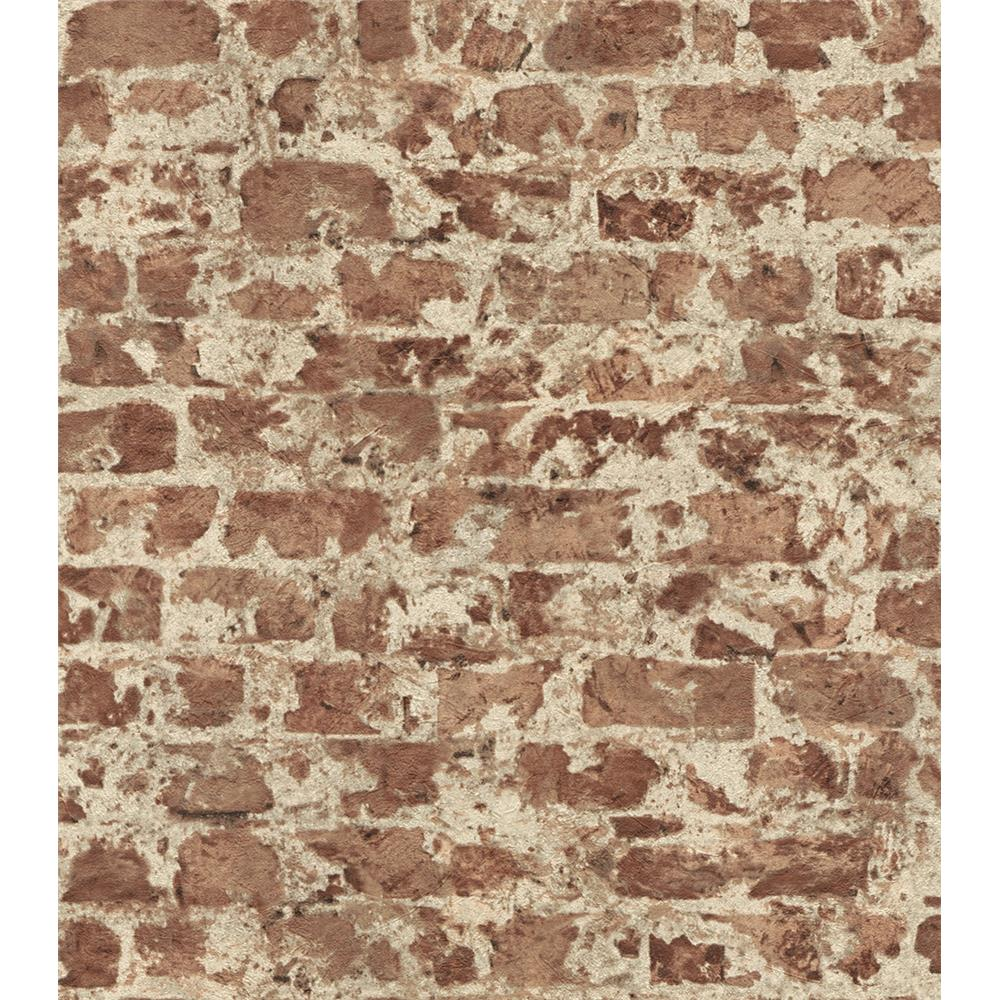 Washington Wallcoverings 446289 Factory II Classic Red Distressed Brick Wallpaper