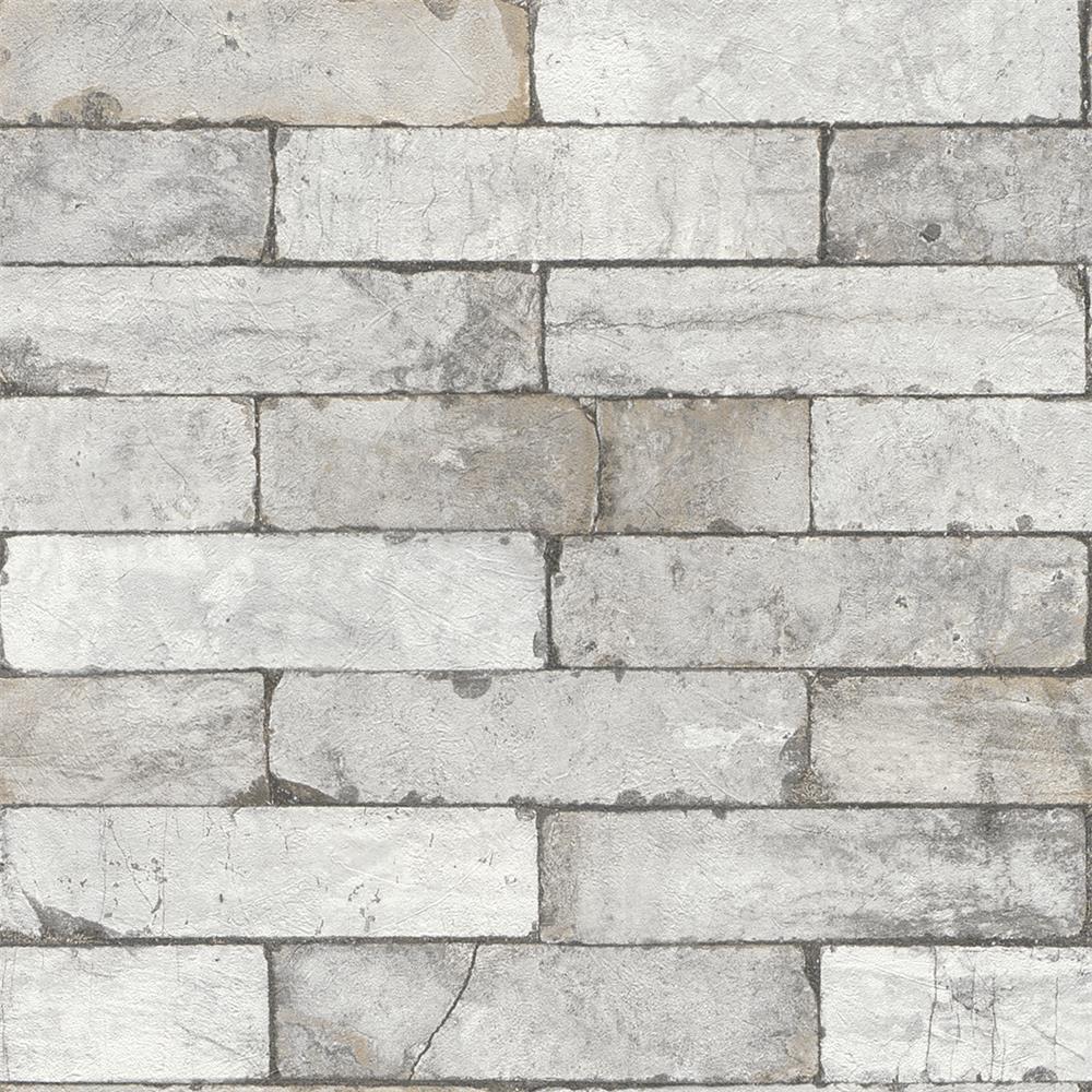 Washington Wallcoverings 446302 Factory II Soft Gray Distressed Brick Wallpaper