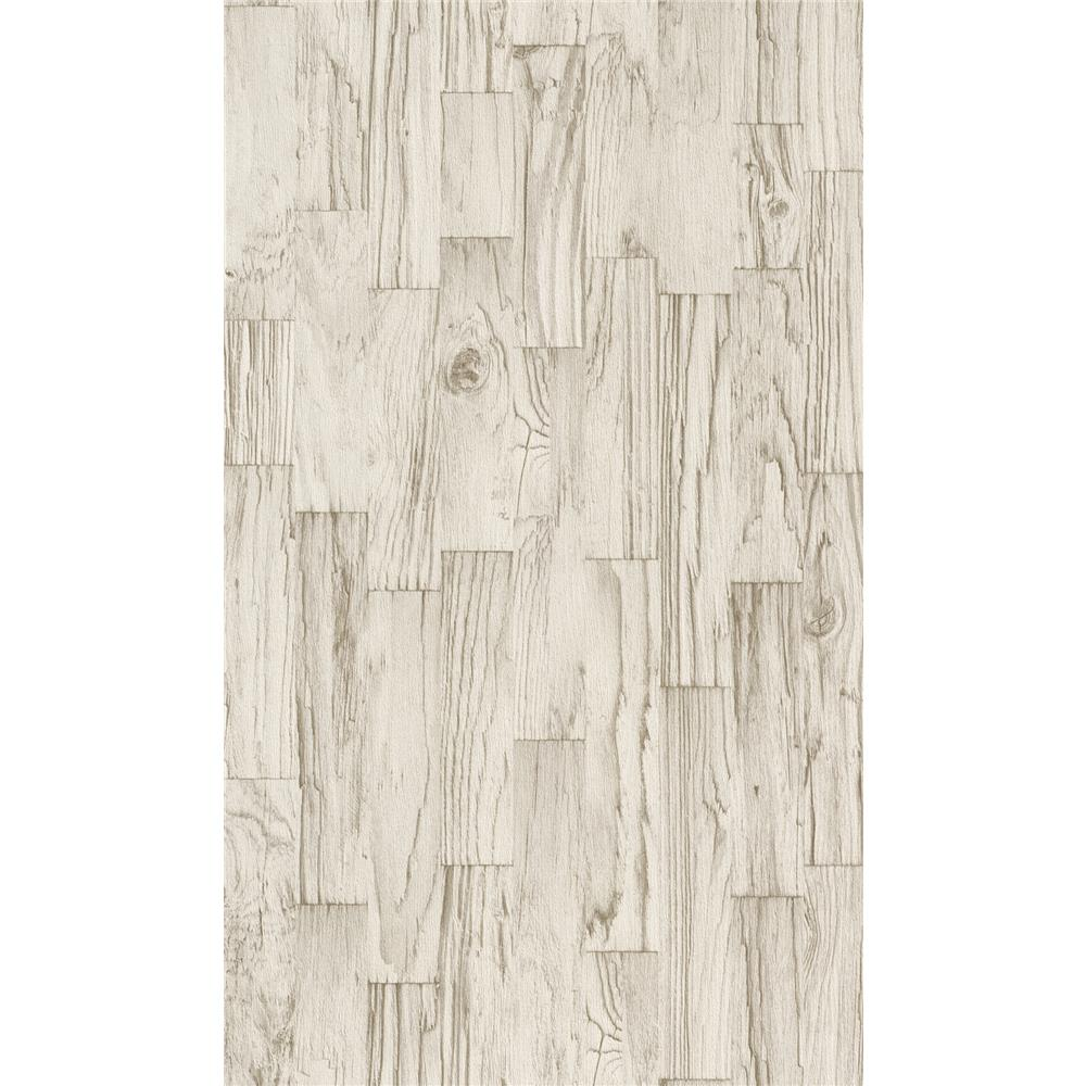 Washington Wallcoverings 446623 Factory II Weathered Bleached Vertical Slat Barnwood Wallpaper