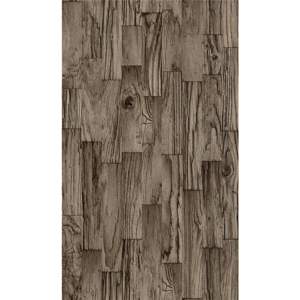 Washington Wallcoverings 446661 Factory II Weathered Dark Brown Vertical Slat Barnwood Wallpaper