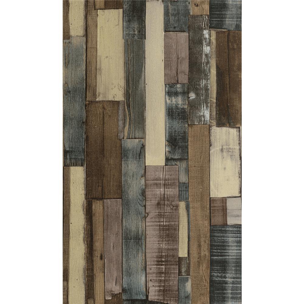 Washington Wallcoverings 446760 Factory II Weathered Brown Multi Colored Vertical Slat Barnwood Wallpaper