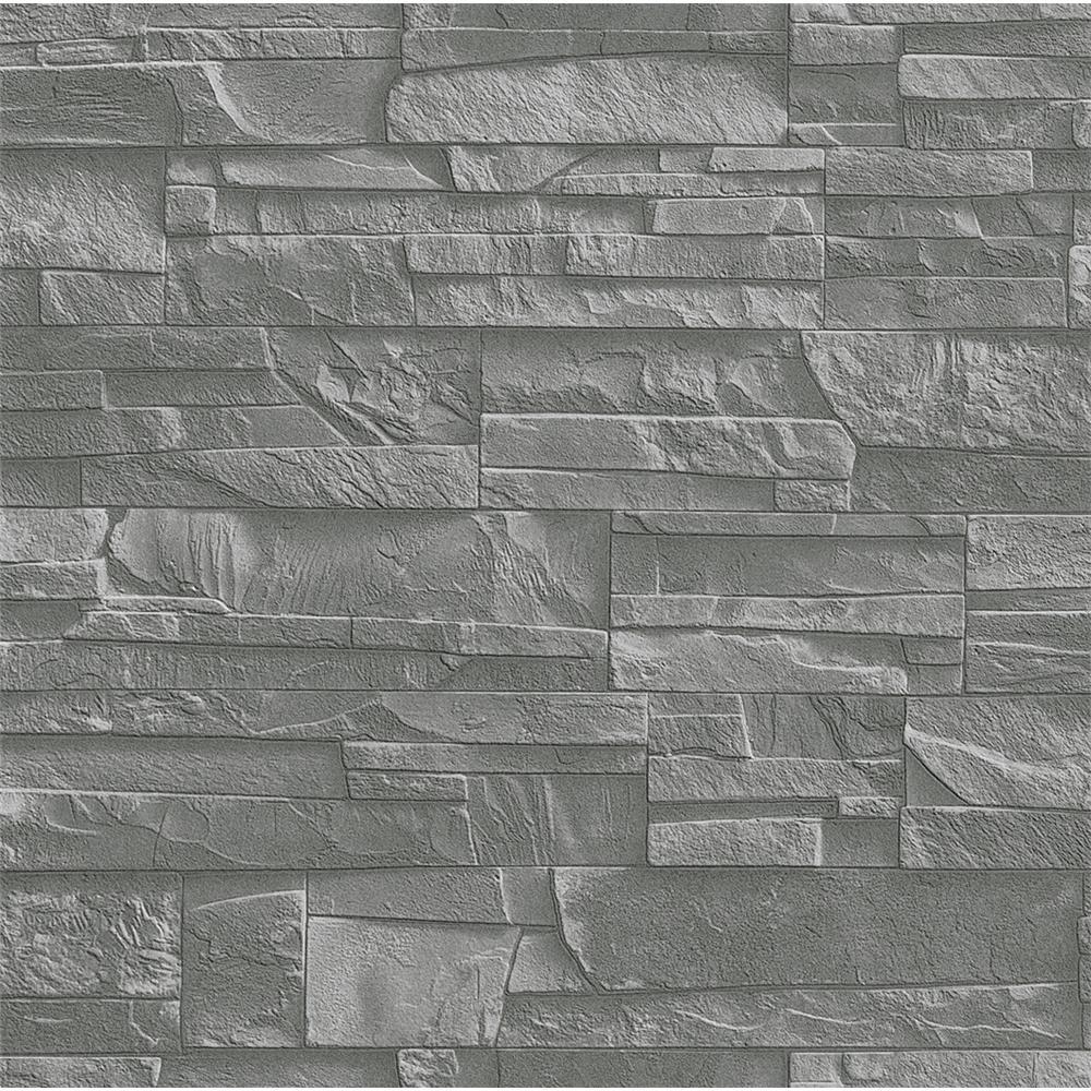 Washington Wallcoverings 475029 Factory II Slate Gray Weathered Stone Wallpaper