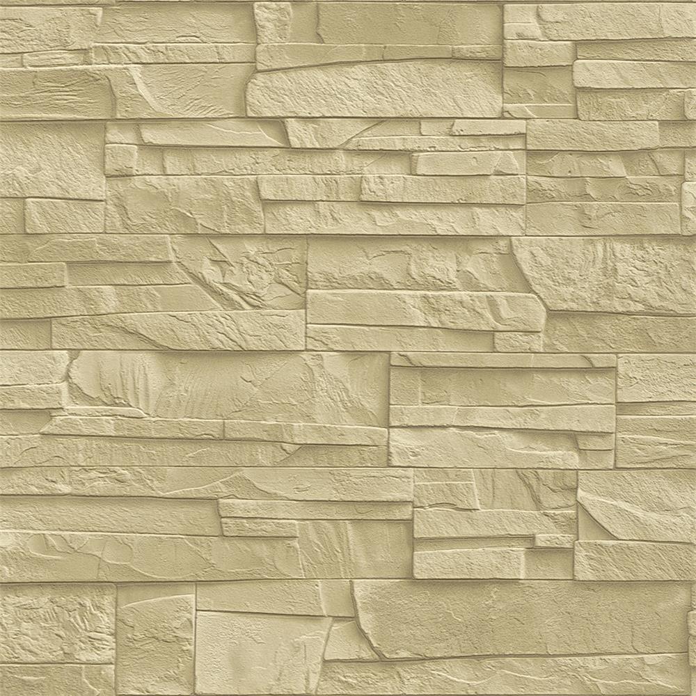 Washington Wallcoverings 475043 Factory II Soft Khaki Weathered Stone Wallpaper