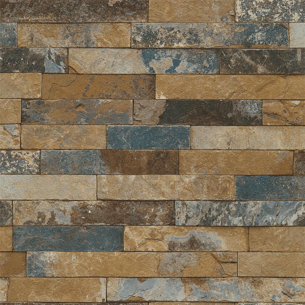 Washington Wallcoverings 475104 Factory II Multi Color Distressed Brick Wallpaper