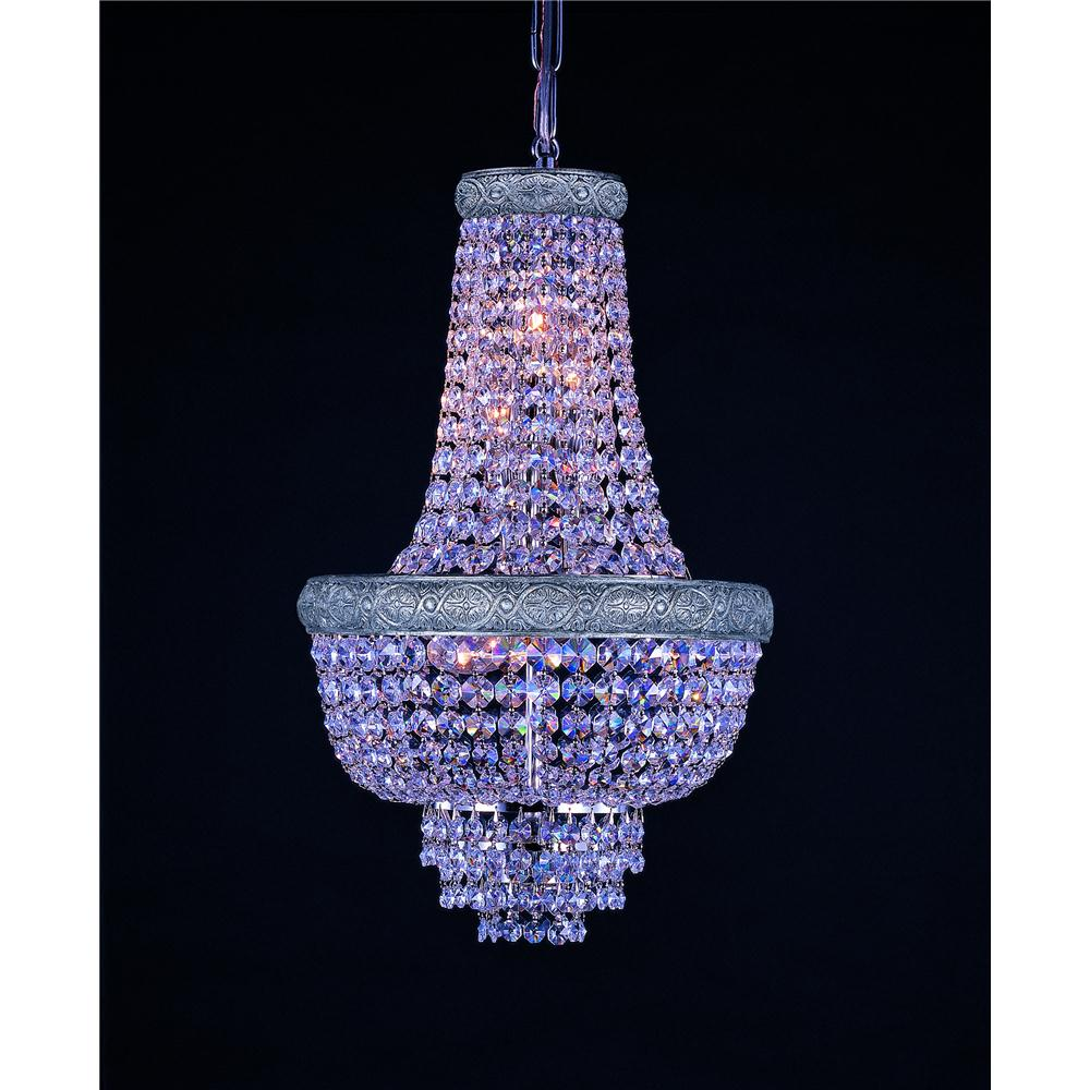 Weinstock Lighting 7100/12N Empire Style Crystal Chandelier in Nickel