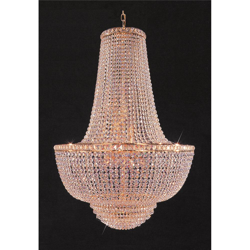 Weinstock Lighting 7100/28 Empire Style Crystal Chandelier in Gold