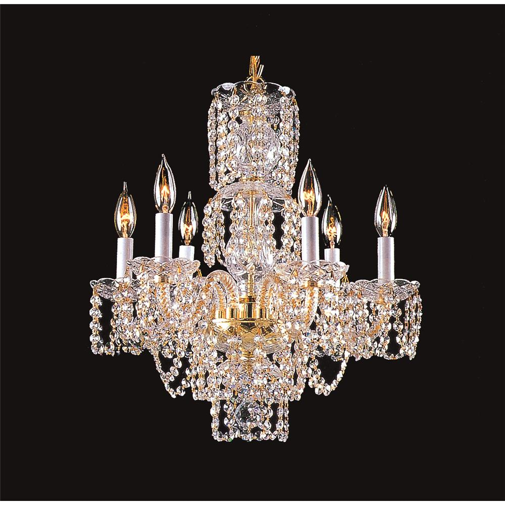 Upscale Illuminations 2106-6HC 6 Light Chrome Crystal Chandelier With French Pendelogue Crystal Trim