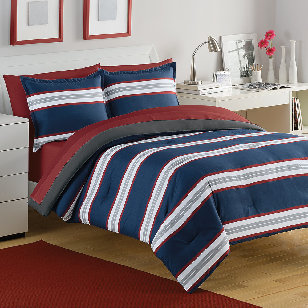 West Point Home 1C12082 IZOD Rugby Stripe Twin Navy/Red Comforter Set