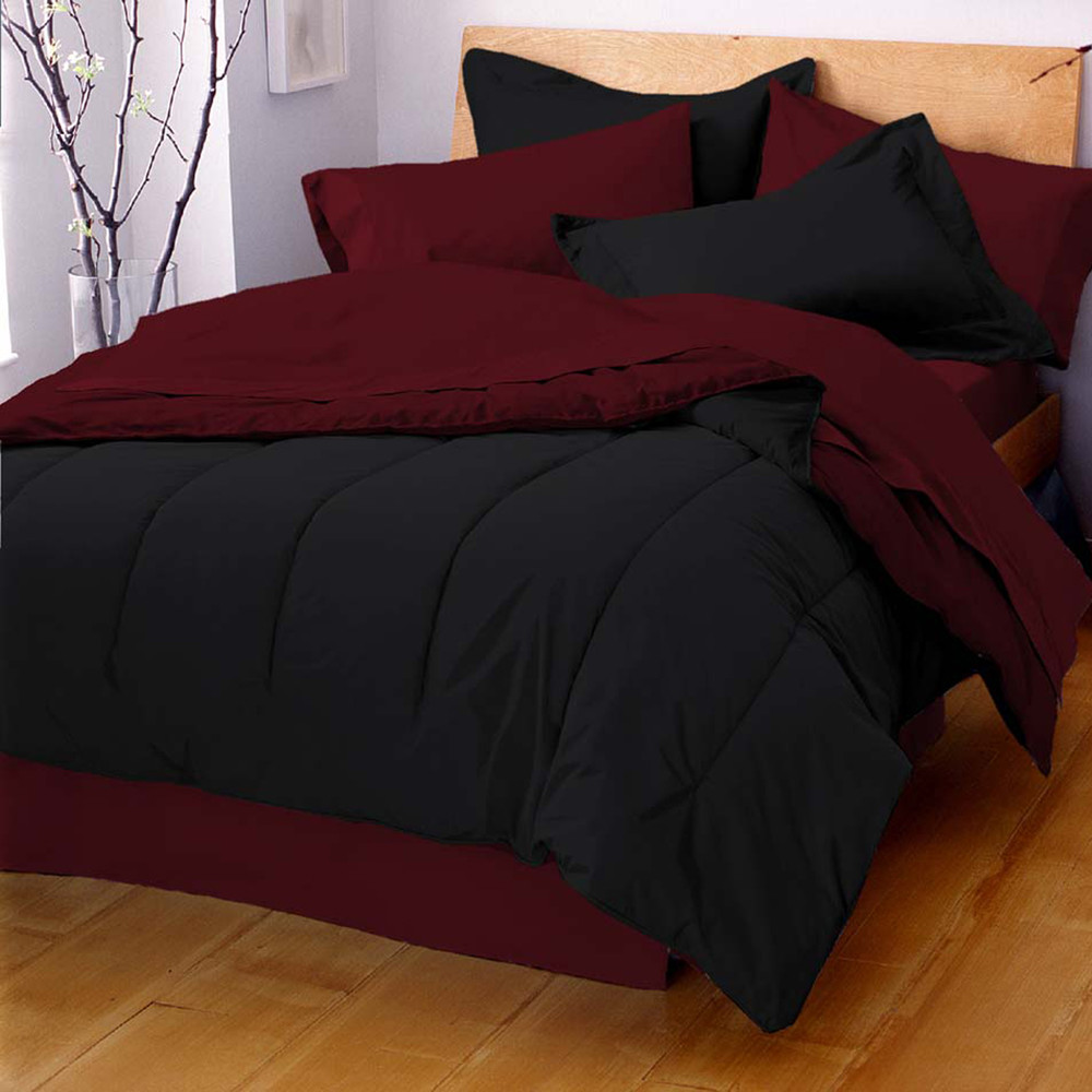West Point Home 1C88985 Martex Reversible Solid Color King Ebony/Burgundy Comforter
