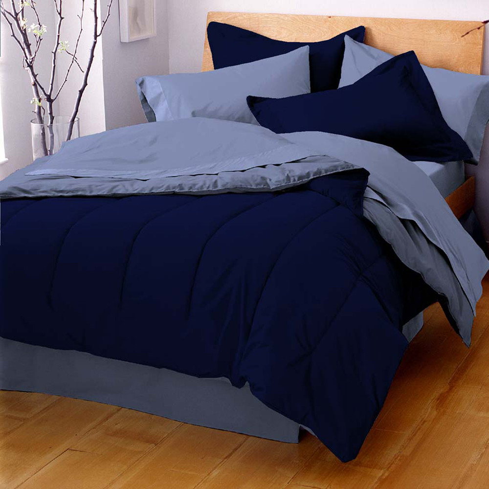 West Point Home 1C88994 Martex Reversible Solid Color Twin Navy/Ceil Blue Comforter