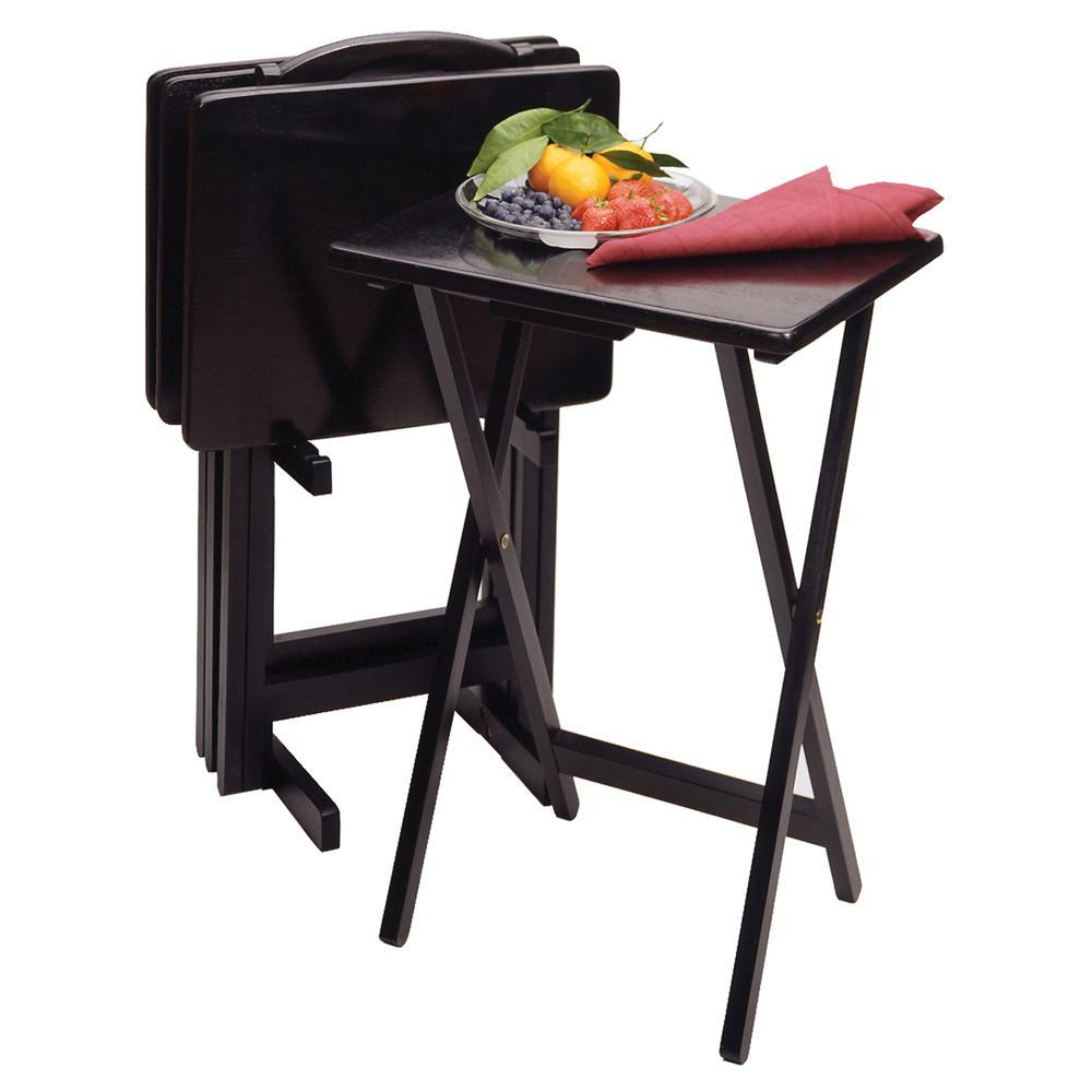 Winsome 22520 5pc TV Table Set, Rectangular in Black