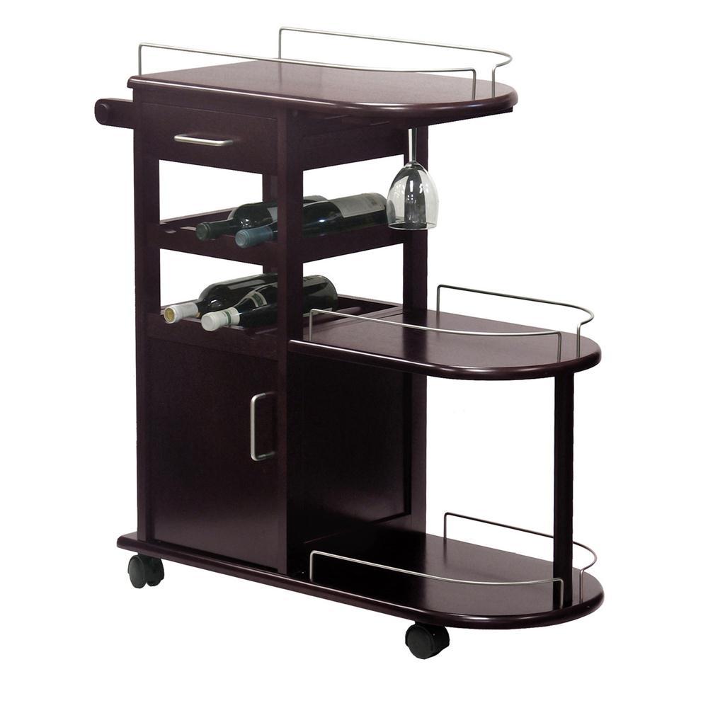 Winsome 92235 Entertainment Cart, Glass Rack, Cabinet, Drawer in DarkEspresso