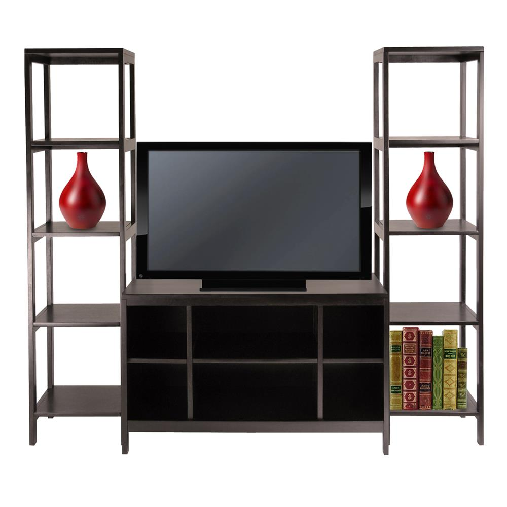 Winsome 92340 Hailey 3pc TV Stand Shelf Set in DarkEspresso