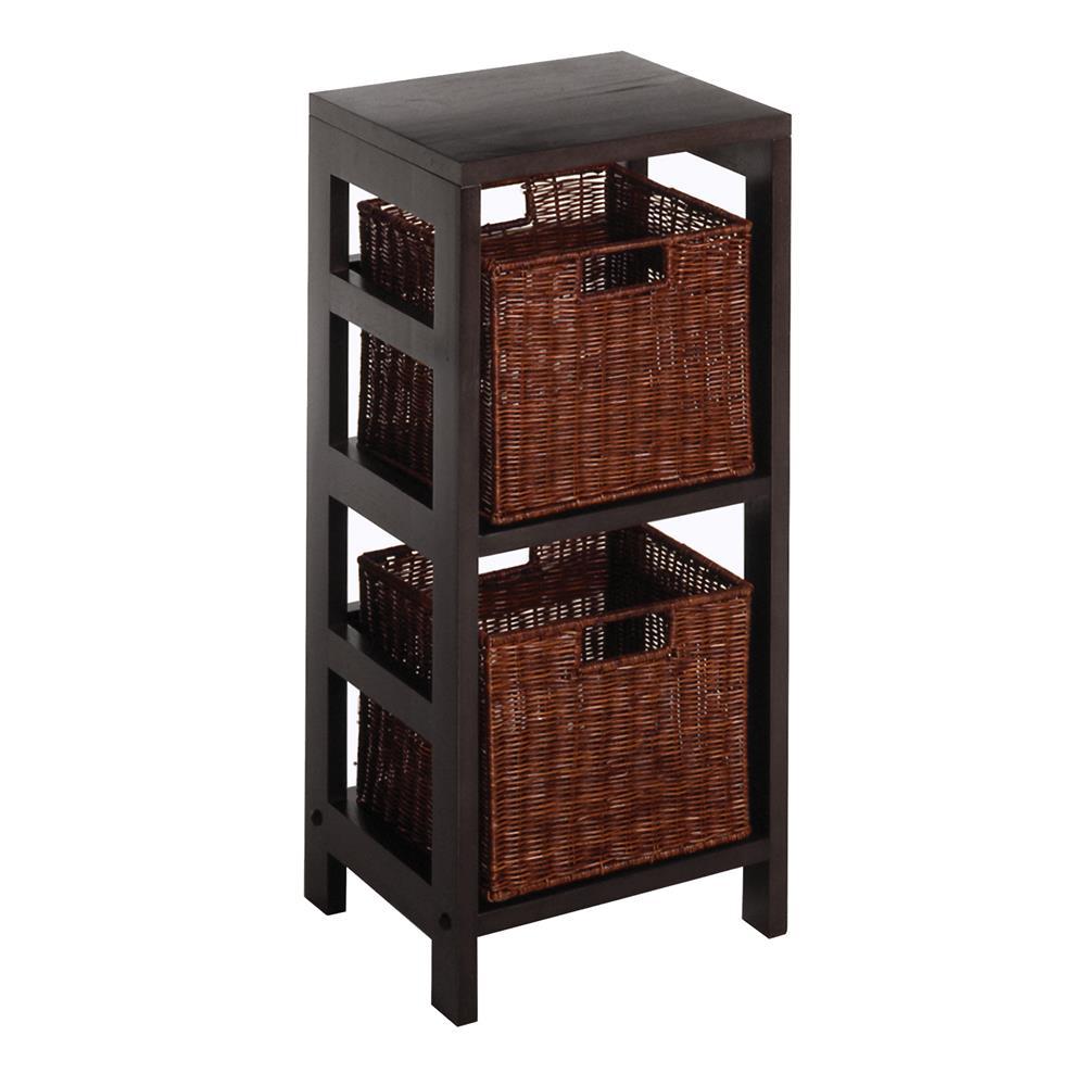 Winsome 92525 Leo 3pc Shelf and Baskets; One shelf, 2 small Baskets; 2 cartons in Espresso