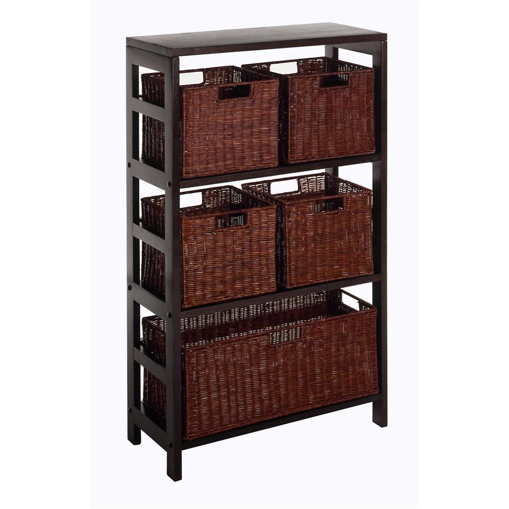 Winsome 92625 Leo 6pc Shelf and Baskets; Shelf, 4 Small and 1 Large Baskets; 3 cartons in Espresso