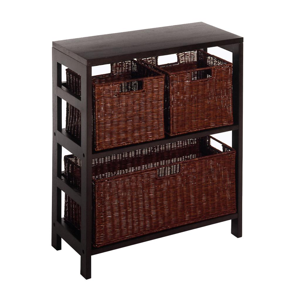 Winsome 92649 Leo 4pc Shelf with 3 Baskets; Shelf with one Large and 2 small baskets; 2 cartons in Espresso