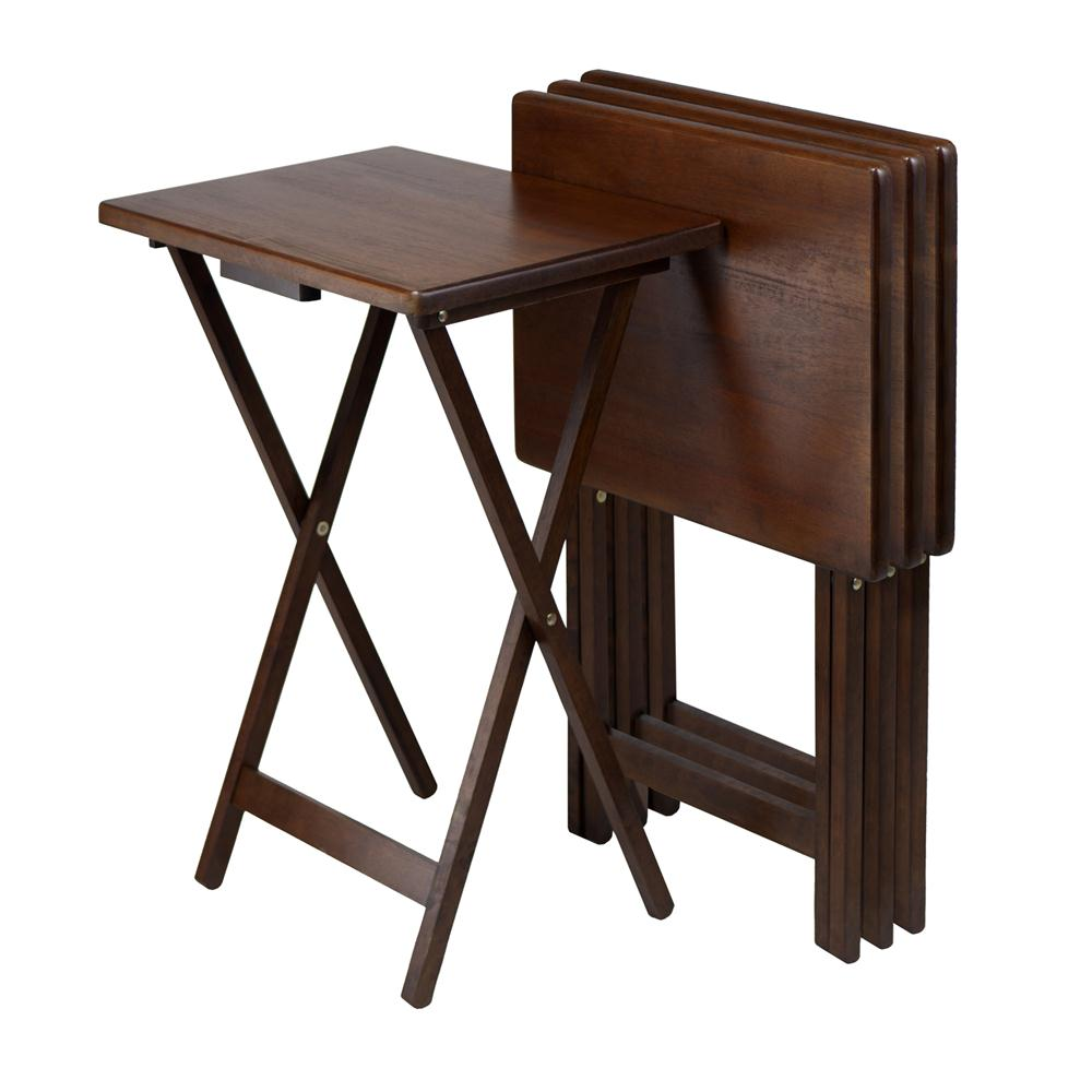 Winsome 94419 Set of 4 Single TV tables, Rect, Walnut (94120) in AntiqueWalnut