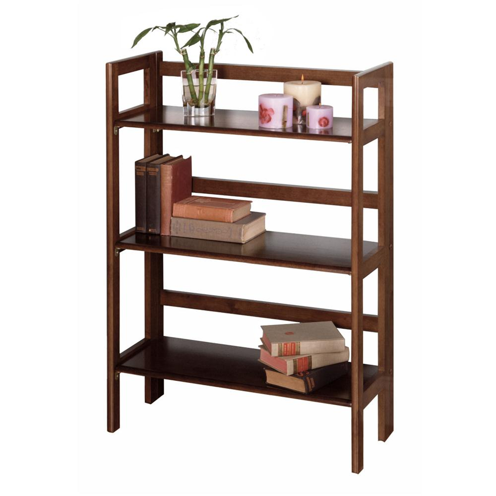 Winsome 94896 3-Tier Folding and Stackable Shelf, Wide in AntiqueWalnut