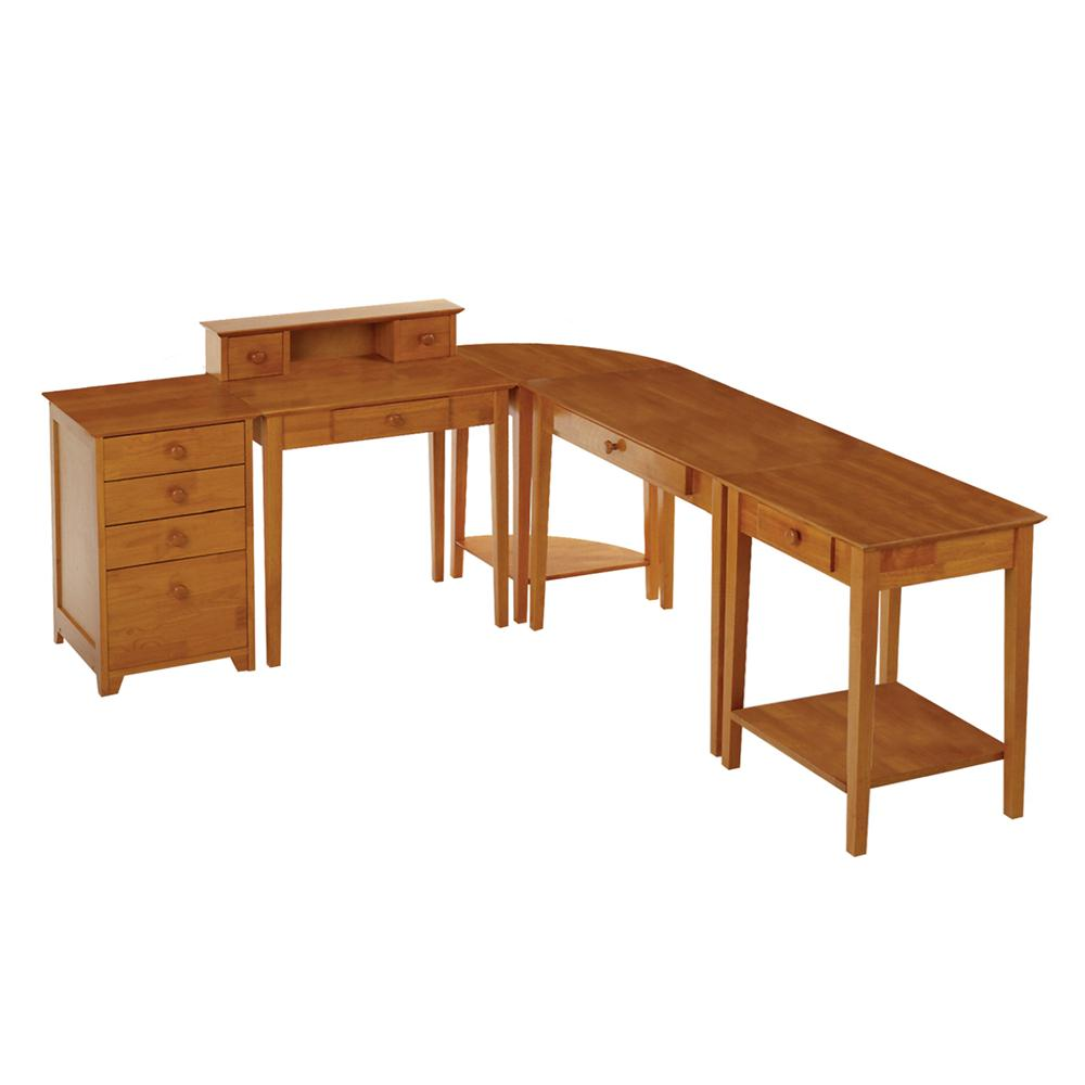 Winsome 99555 Studio 5pc Home Office Set in Honey