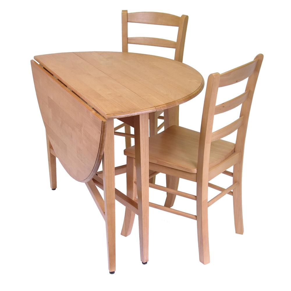 Winsome 34342 Hannah 3pc Dining Set, Drop Leaf Table With 2 Ladder Back  Chairs In