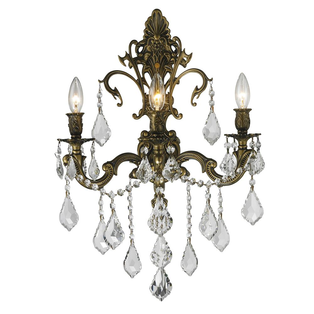 Clear Crystal Wall Sconces : W23316B17 - Worldwide LightingW23316B17 Versailles Collection 3 Light Antique Bronze Finish and ...