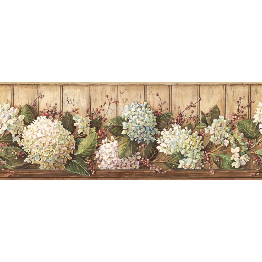 Inspired by Color by York Wallcoverings HK4643BD Border Book Hydrangea Border