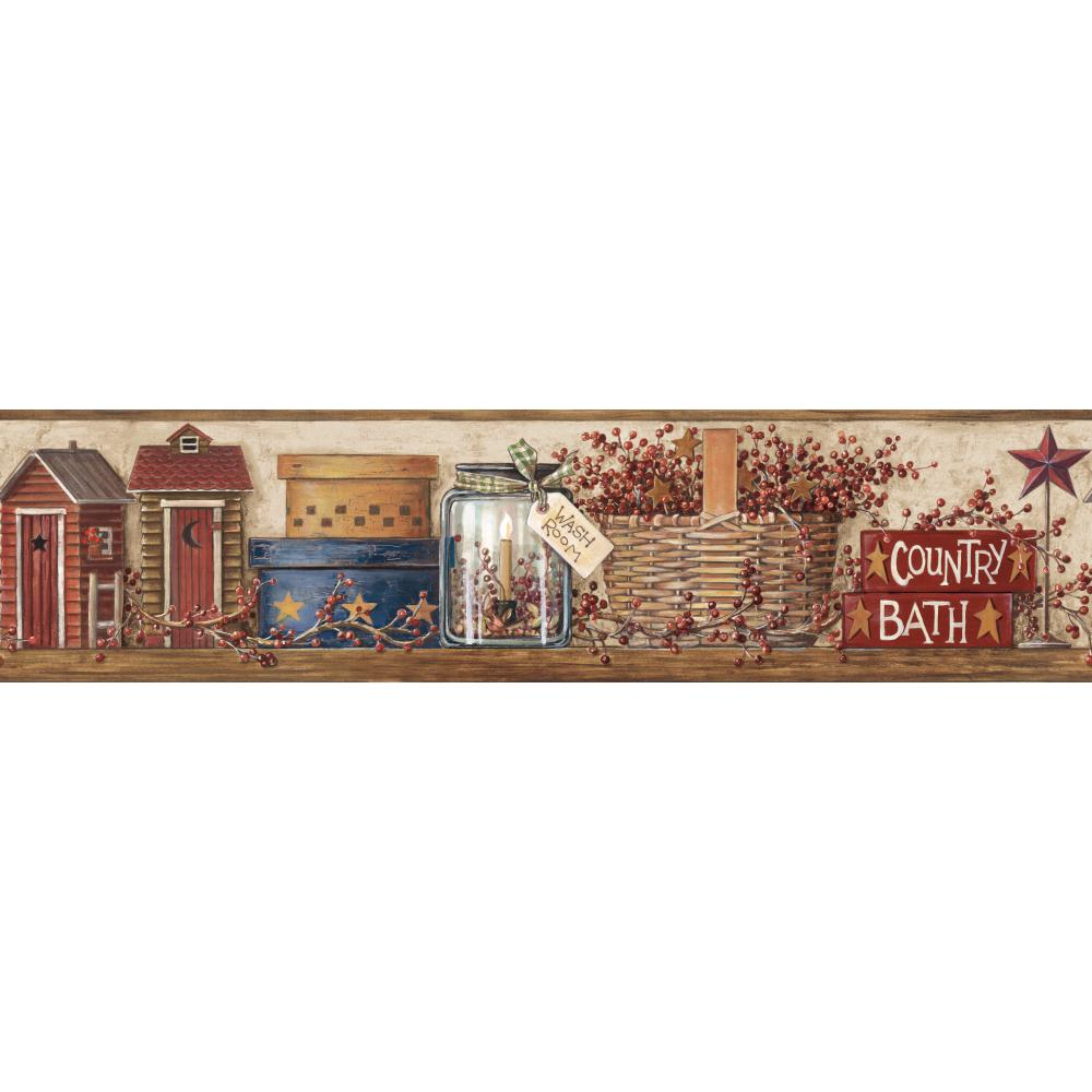 Inspired by Color by York Wallcoverings HK4648BD Border Book Country Bath Border