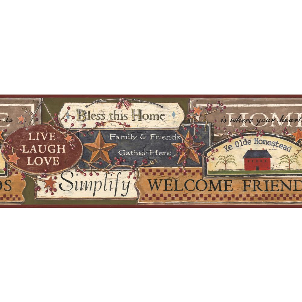 Inspired by Color by York Wallcoverings PC3976BD Border Book Country Signs Border