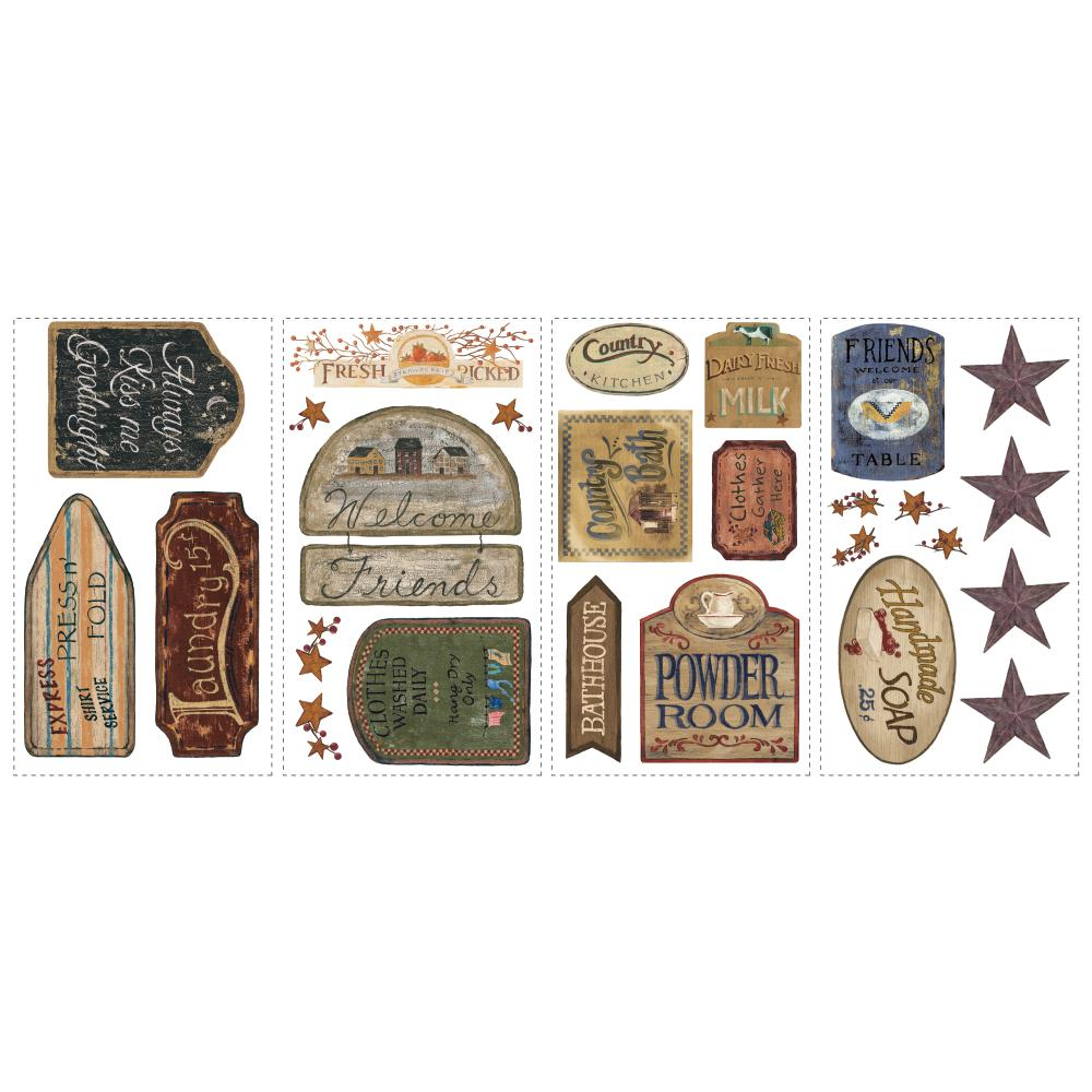 Inspired by Color by York Wallcoverings RMK1175SCS Border Book Country Signs Appliques